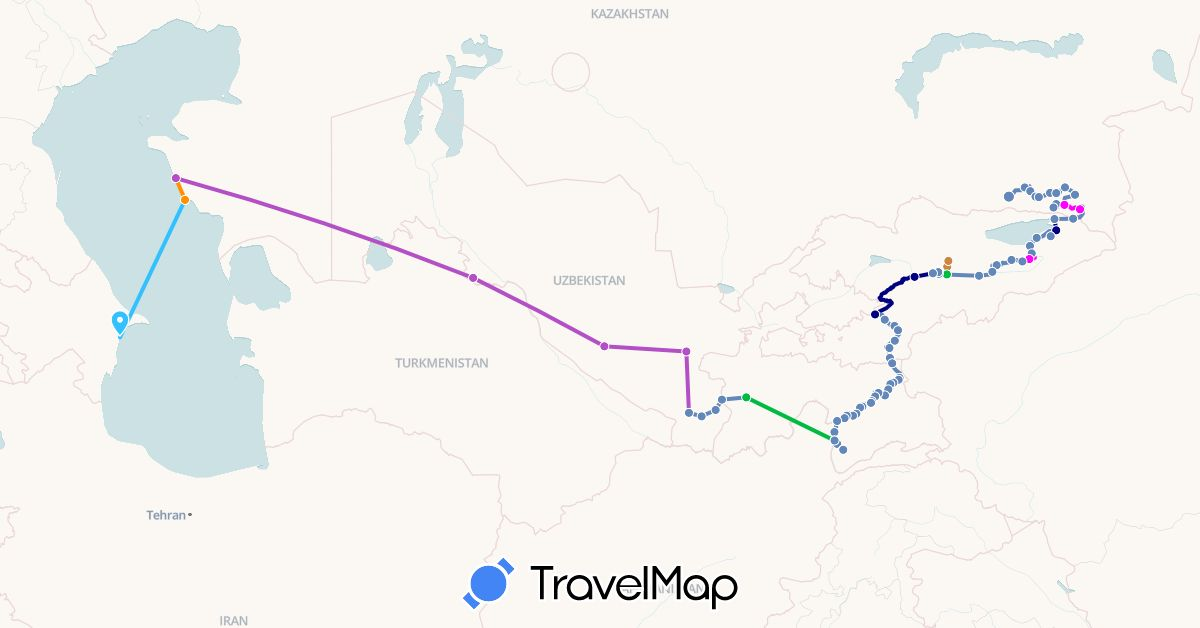 TravelMap itinerary: driving, bus, cycling, train, boat, hitchhiking, mix vélo / stop, À cheval ! in Azerbaijan, Kyrgyzstan, Kazakhstan, Tajikistan, Uzbekistan (Asia)